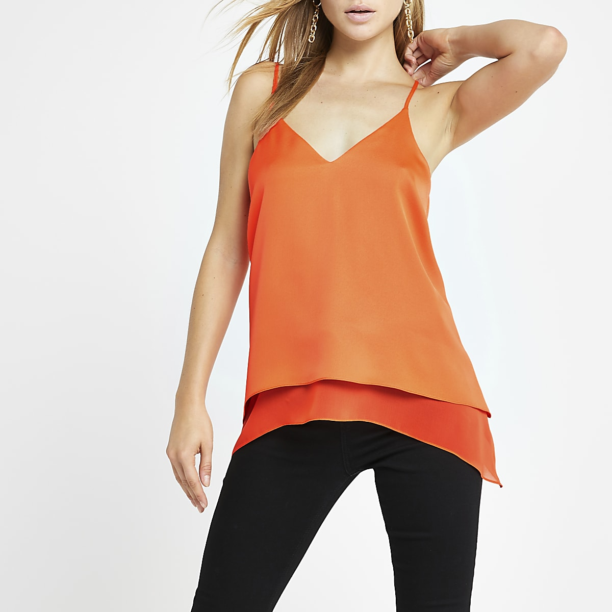 Orange layered hem cami top
