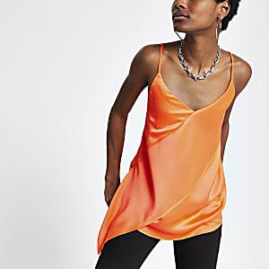 Oberteil in Orange mit Rüschen