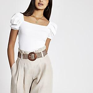 T-shirt blanc côtelé à manches bouffantes