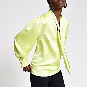 Lime tie neck blouse