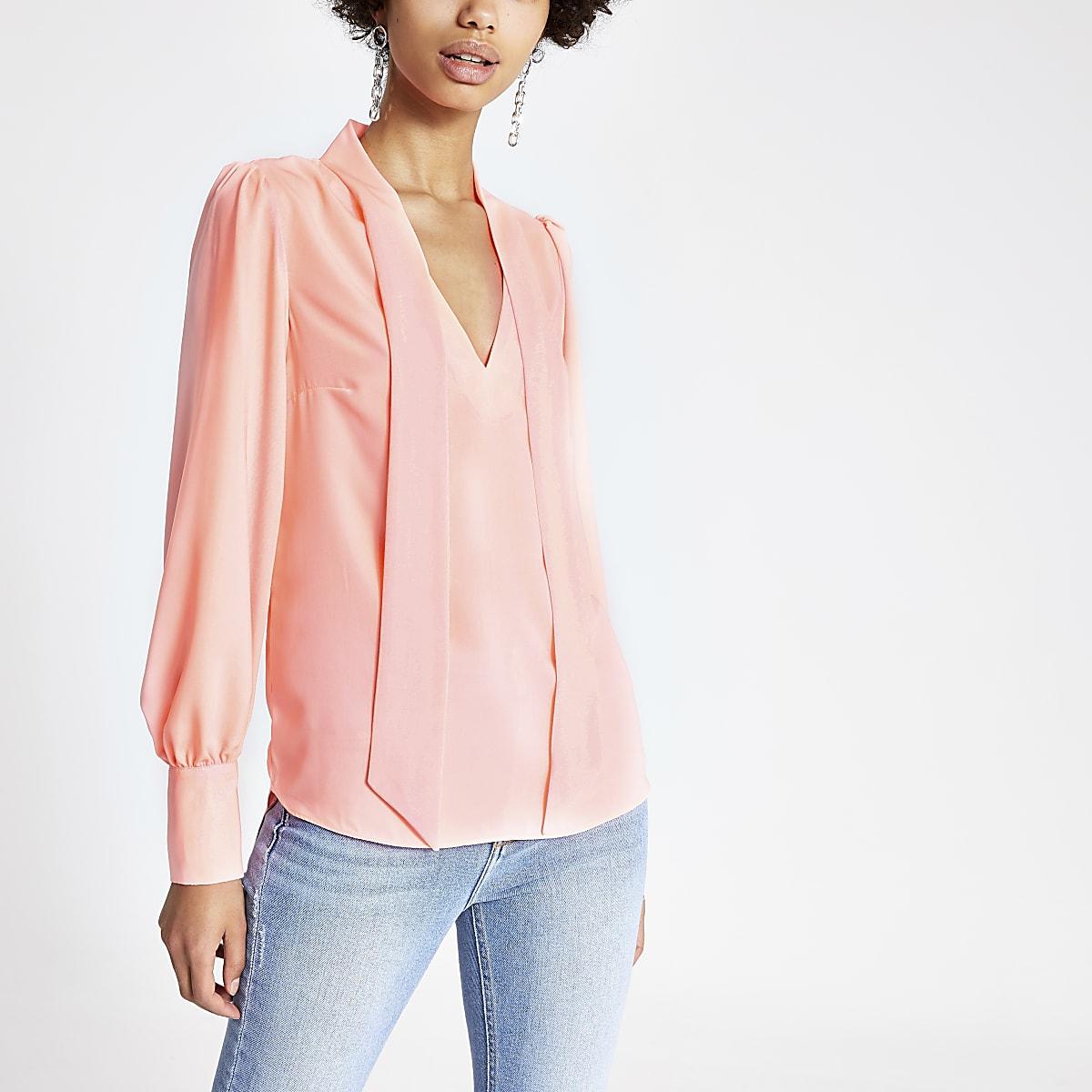 Coral tie neck blouse