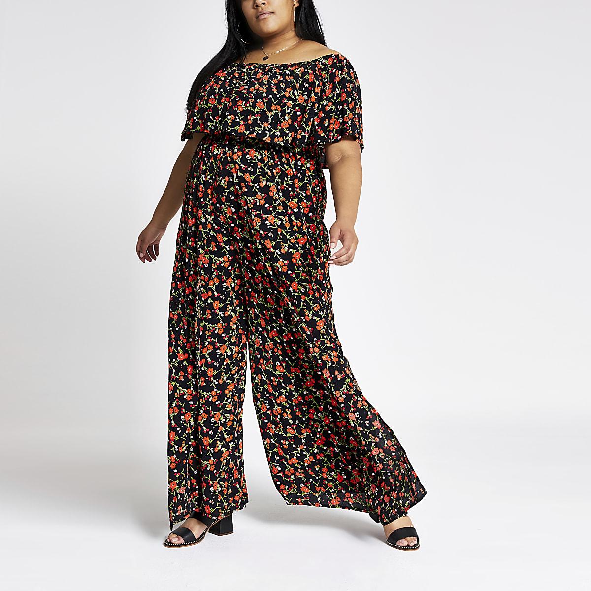 Plus black floral bardot wide leg jumpsuit
