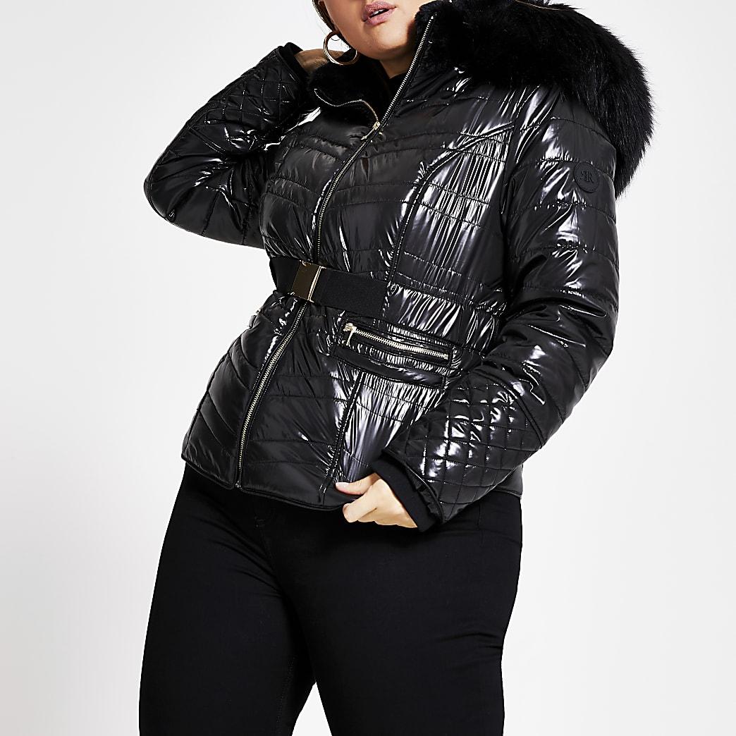 Plus black faux fur high shine padded coat