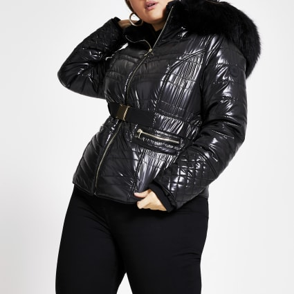 Plus black faux fur high shine padded coat