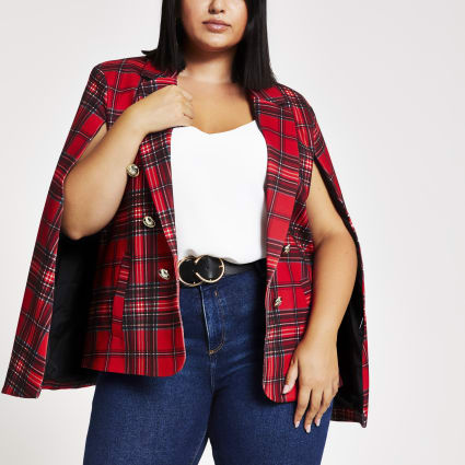 Plus red tartan crested button cape blazer