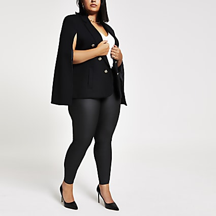 Plus black gold crest button cape blazer