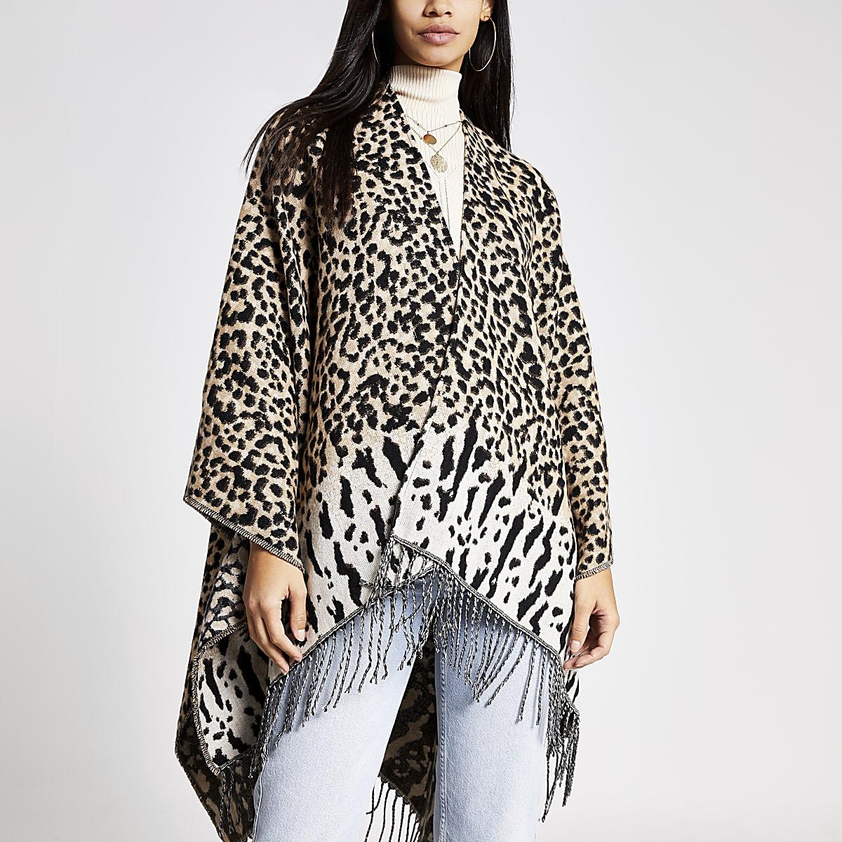 Beige leopard print fringe cape