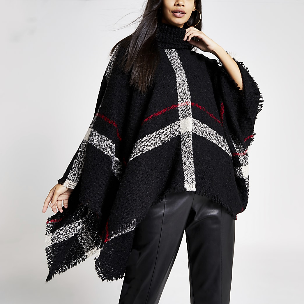 Zwarte cape met col en ruitenprint