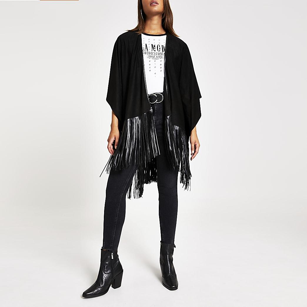 Black faux suede fringe cape