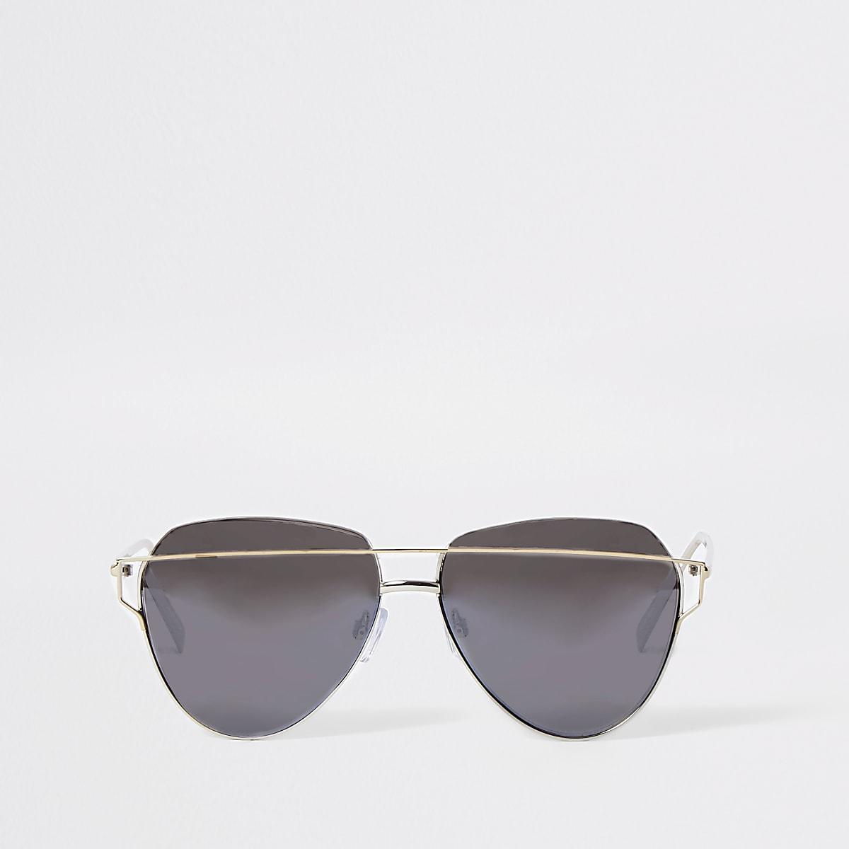 Silver grey lens aviator sunglasses