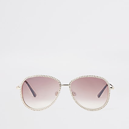 Rose gold aviator diamante trim sunglasses