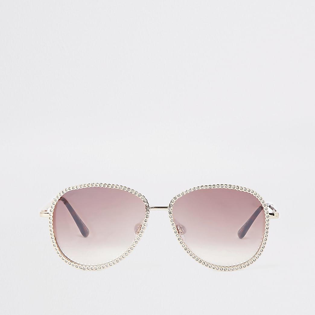 Lunettes de soleil aviateur doré rose bordées de strass