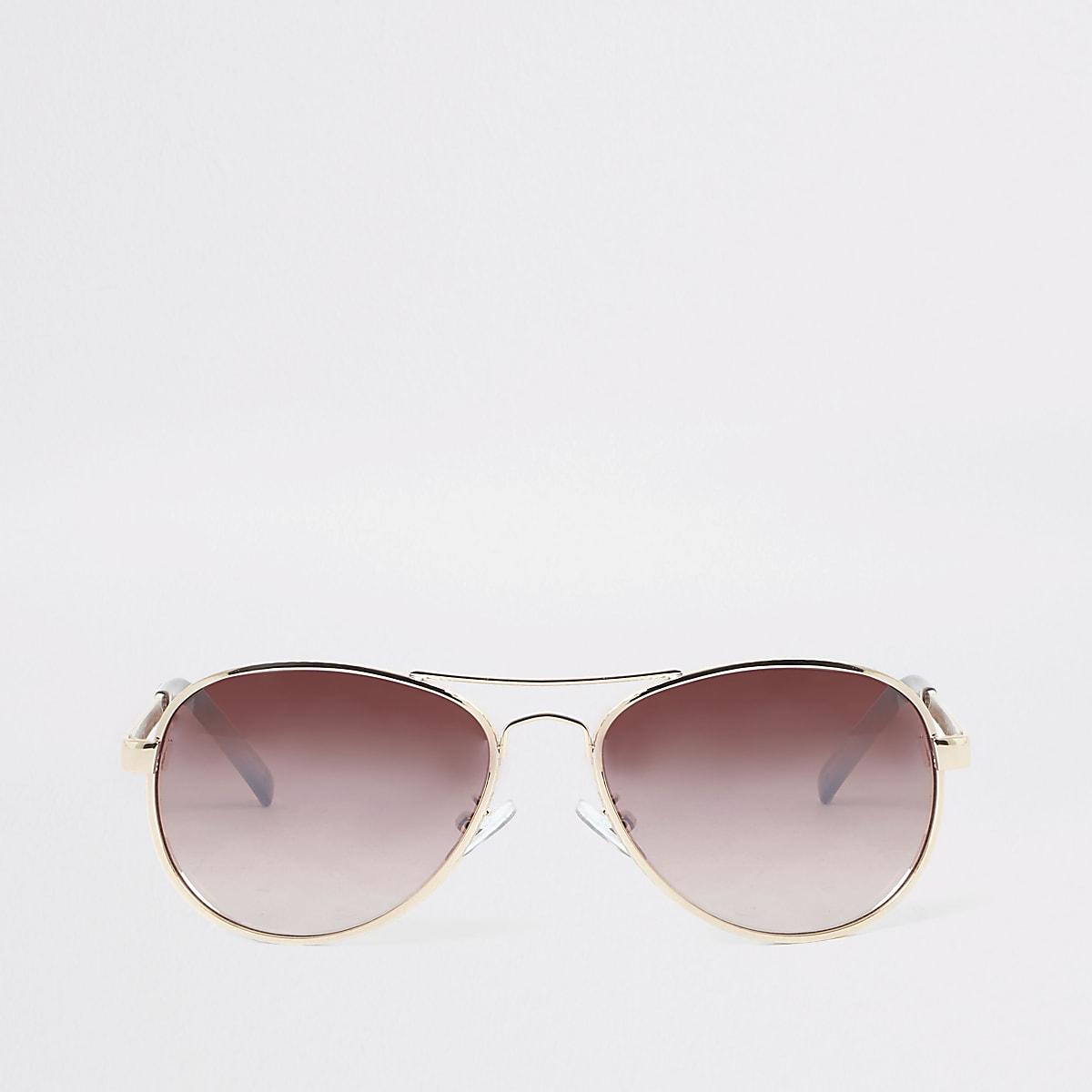 Gold tone textured aviator sunglasses