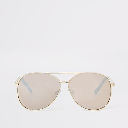 Gold tone chain trim aviator sunglasses