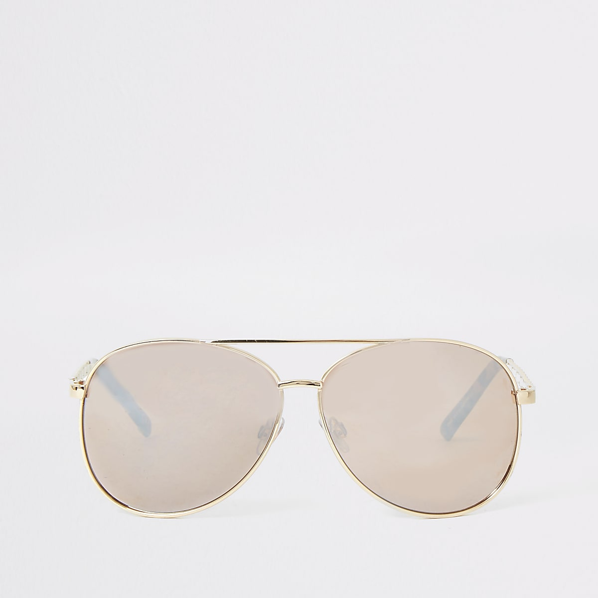 Gold tone chain trim aviator sunglasses