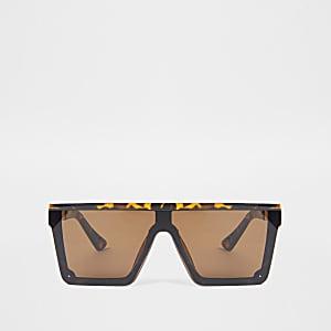 Bruine tortoise zonnebril met platte bovenkant