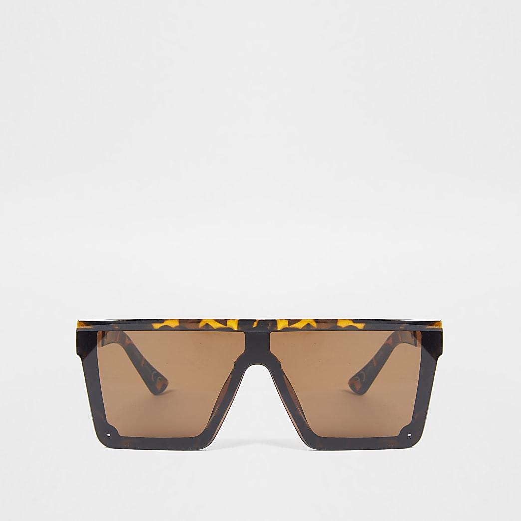 Brown tortoiseshell flat top sunglasses