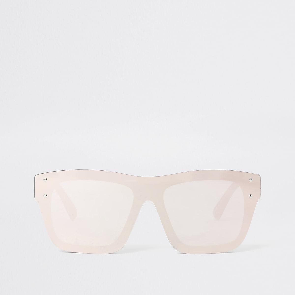 Brown print visor flat top sunglasses