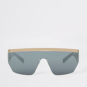 Goudkleurige visor zonnebril met platte bovenkant