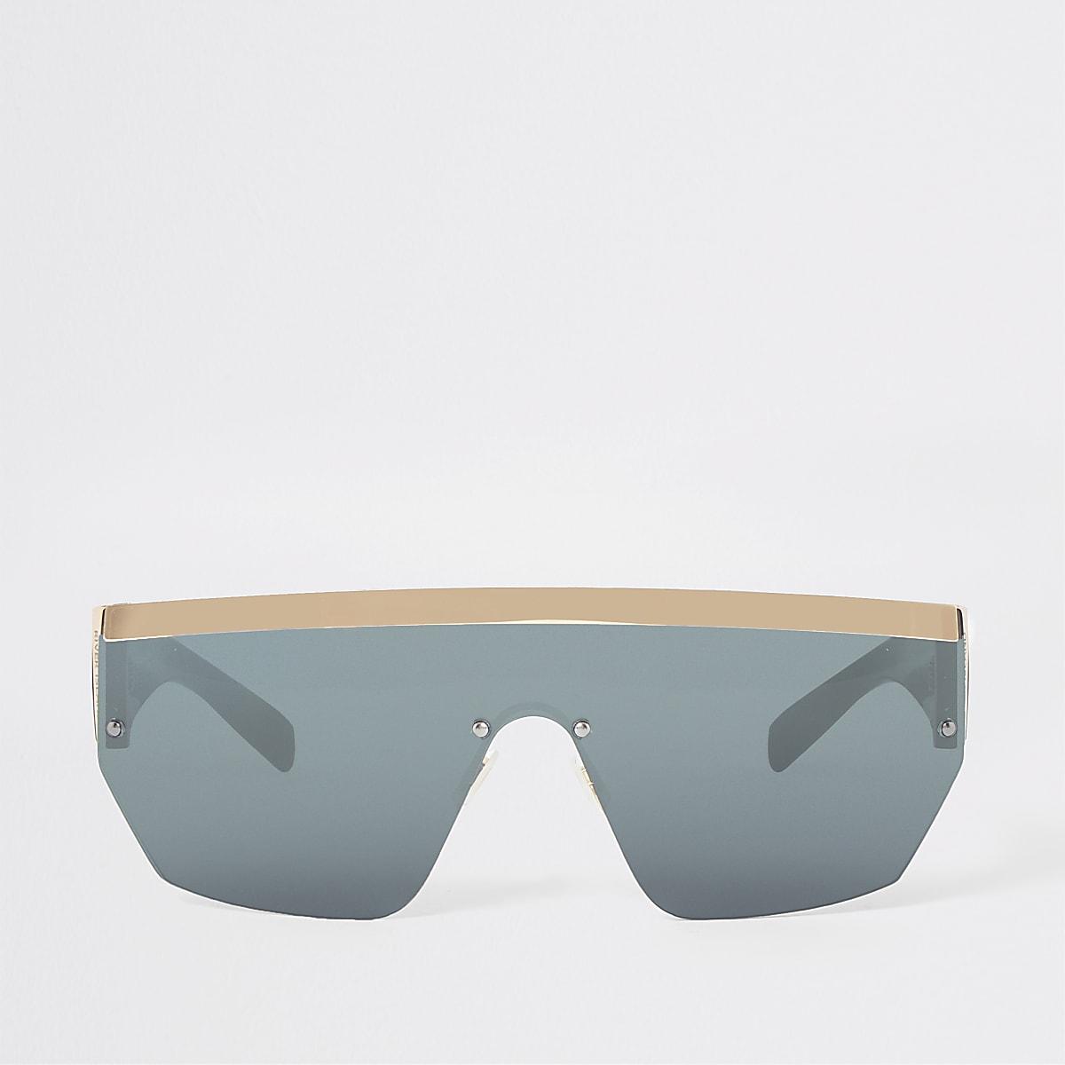 Gold tone visor flat top sunglasses