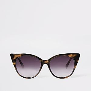 Lunettes de soleil yeux de chat écaille marron
