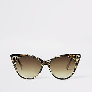 Bruine cat-eye-zonnebril met luipaardprint