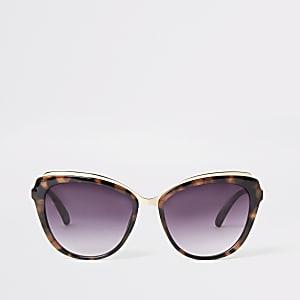 Bruin tortoise cat-eye-zonnebril met glazen in de kleur smoke