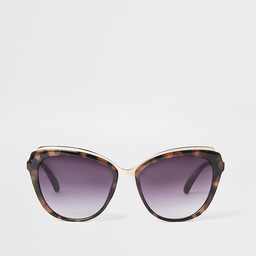 Lunettes de soleil yeux de chat écaille de tortue marron à verres fumés
