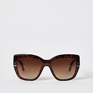 Bruine glamoureuze tortoise zonnebril met RI-monogram