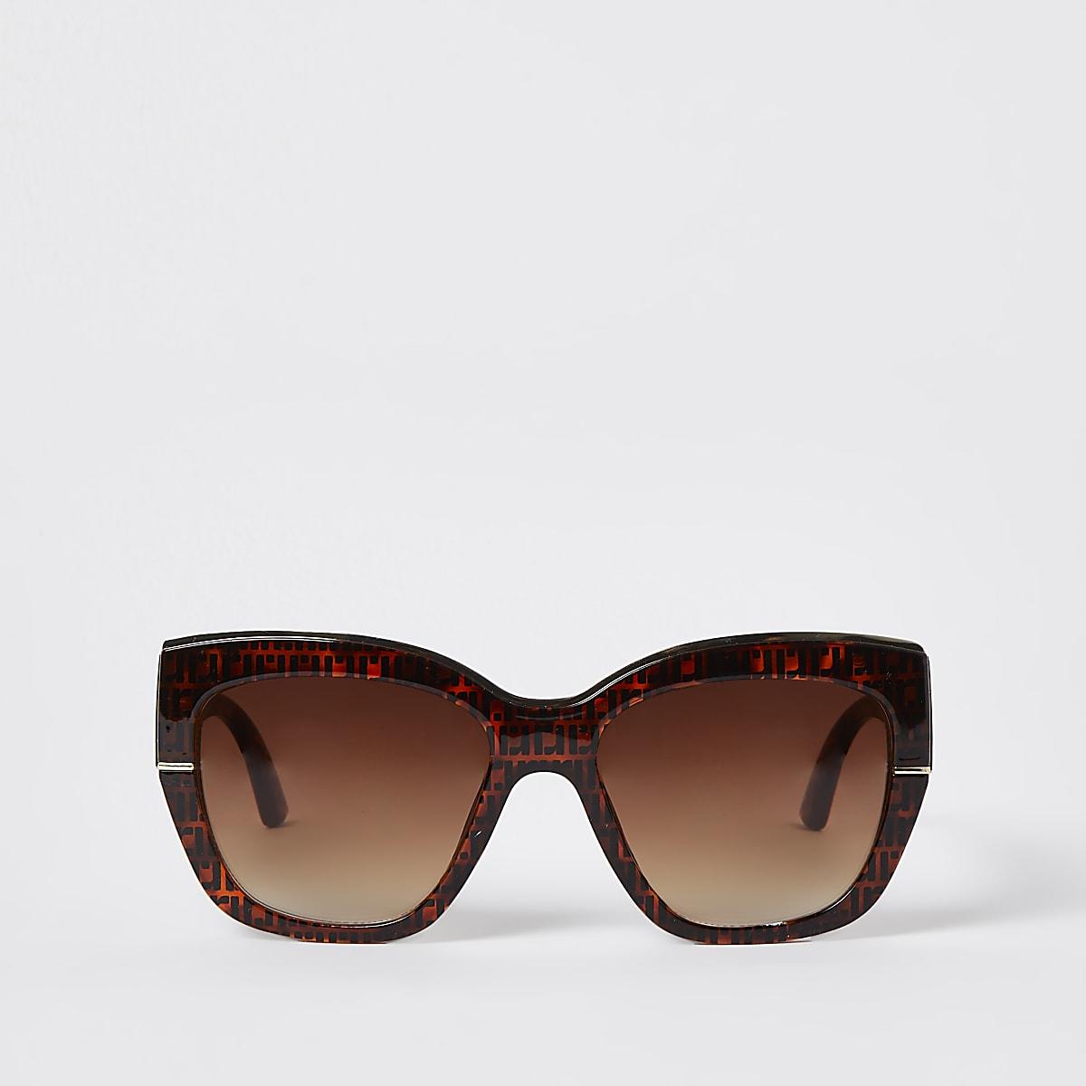 Lunettes de soleil glamour RI motif écaille de tortue marron