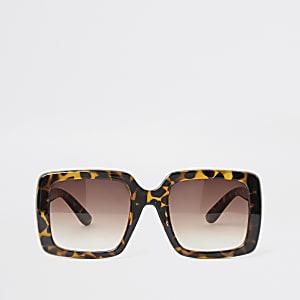 Lunettes de soleil glamour motif écaille de tortue marron