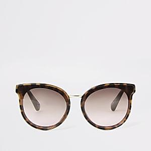 Bruine ronde glamoureuze tortoise zonnebril