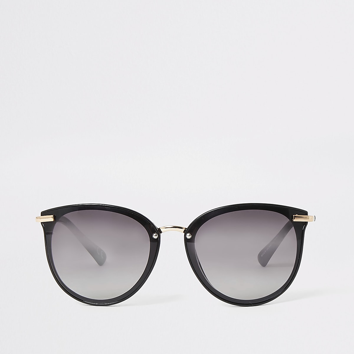 Black smoke lens retro sunglasses