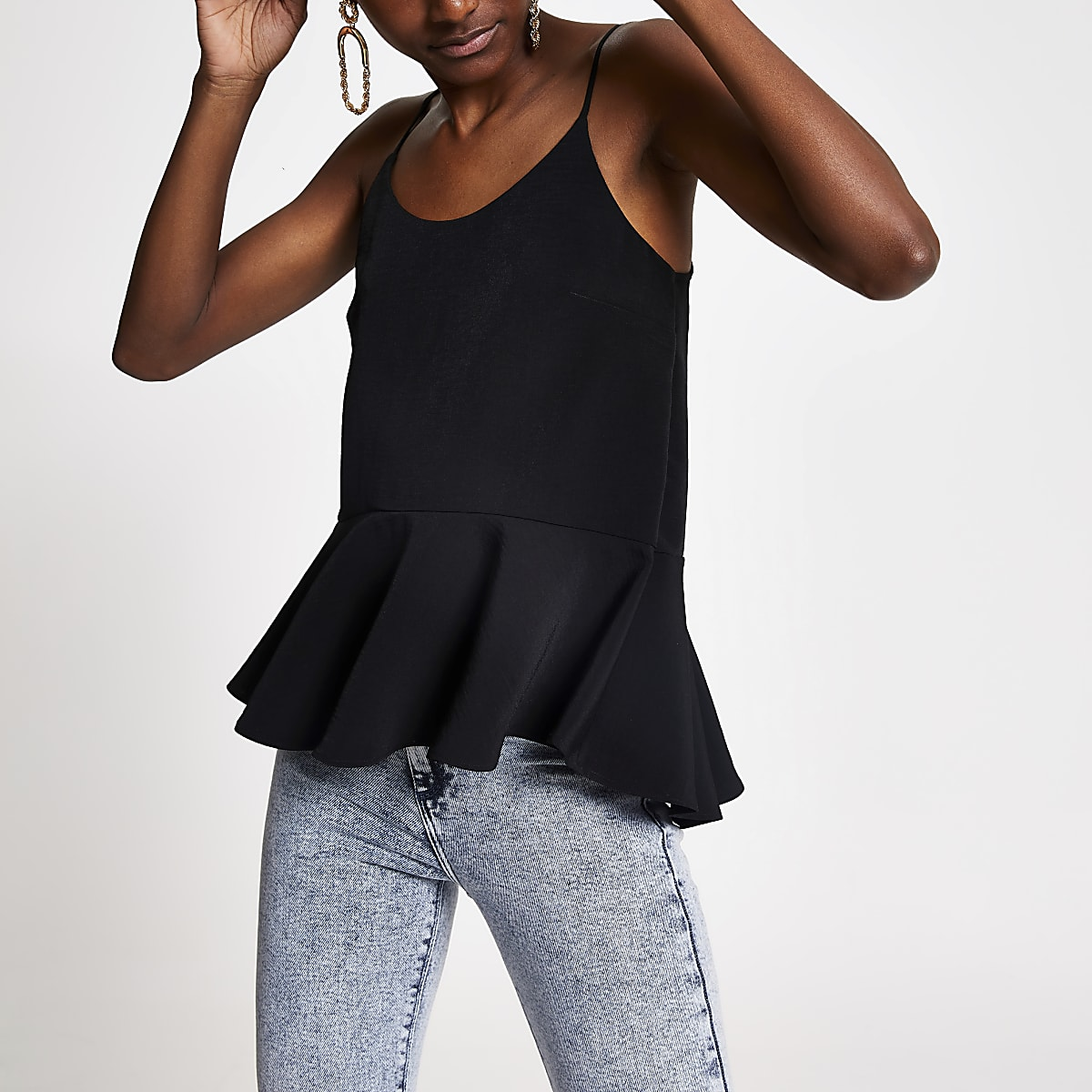 Black peplum cami top