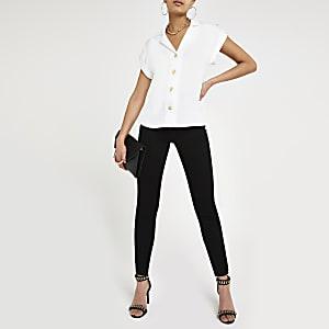 Weißes, kurzärmeliges Utility-Hemd