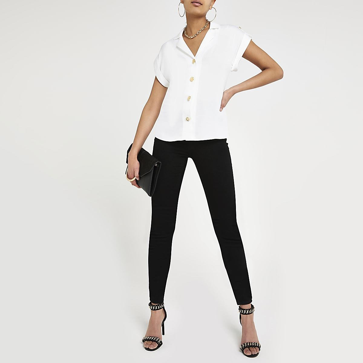 White short sleeve utility shirt