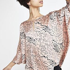 Pink animal print batwing T-shirt