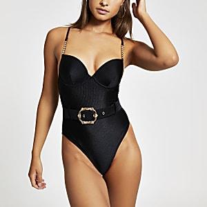 Maillot une-pièce noir à ceinture et décolleté plongeant