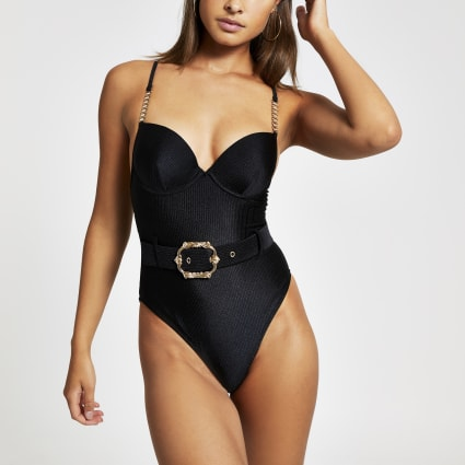 Black belted plunge swimsuit