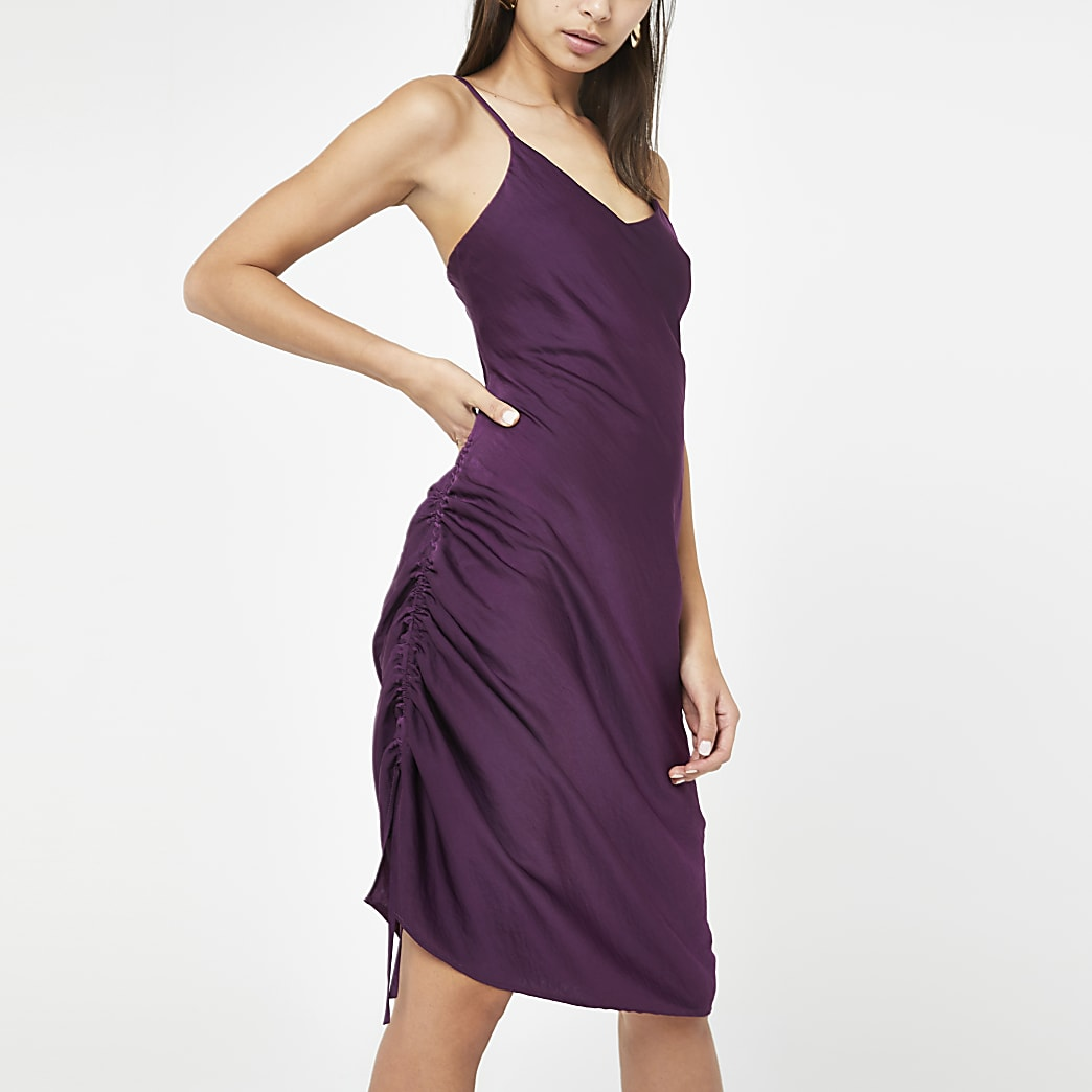 Purple ruched slip midi dress
