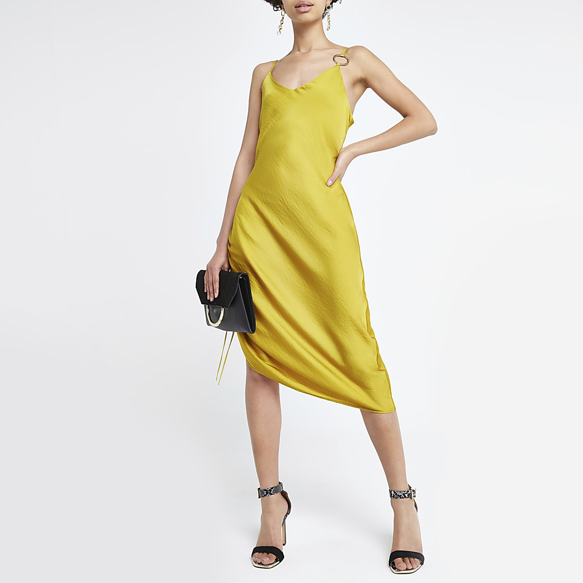 Yellow ruched slip midi dress
