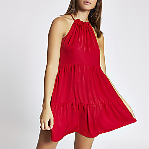 Red halter neck swing dress