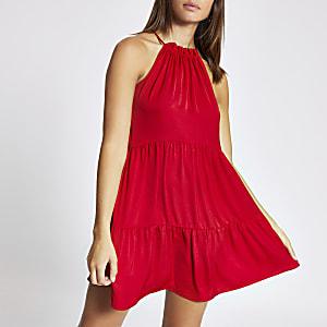 Rotes Neckholder-Swing-Kleid