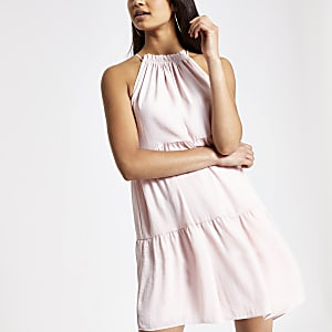 d6188ed2e76 Pink halter neck swing dress
