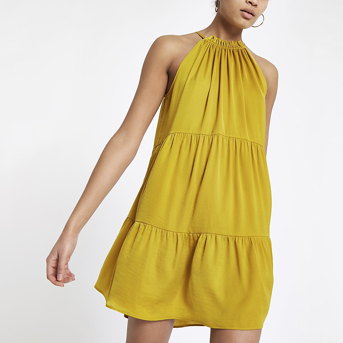 Yellow halter neck swing dress