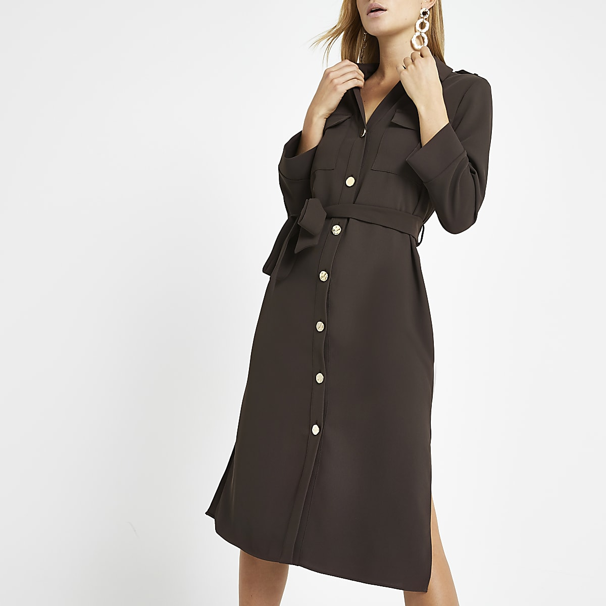 Dark brown belted shirt dress