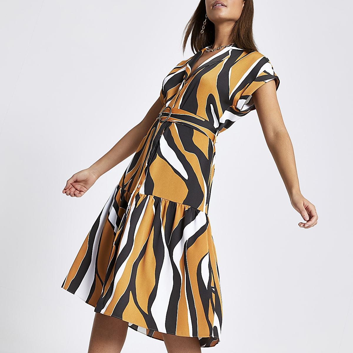 Beige zebra print midi shirt dress