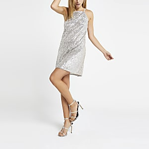 Silver sequin swing dress