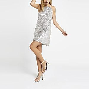 Silbernes, paillettenverziertes Swing-Kleid