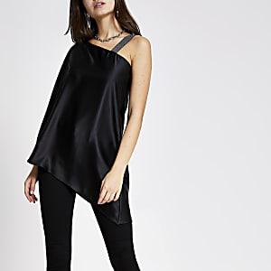 Black satin one shoulder top